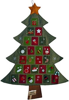 Hanging Fabric Christmas Advent Calendar Countdown to Christmas Tree ** Home decor details can be found by clicking on the image.