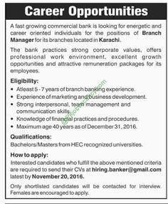 Leading Commercial Bank Of Pakistan Hrs Global Jobs For National