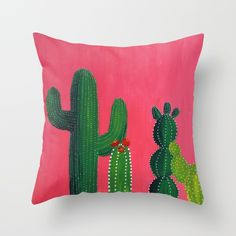 Pink & green cactus Throw Pillow, southwest decor, cacti