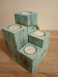 4-dílný+svícen+na+čajové+svíčky+ve+stylu+Provance+Svícen+na+4+čajové+svíčky,+masivní+dřevo,+které+má+krásnou+patinu+ve+stylu+Provance.+Design+vznikl+kartáčováním,+opalováním+a+lakováním+dřeva.+Svíčky+jsou+vždy+součástí. Stylus, Tissue Holders, Homemade, Design, Style, Home Made, Hand Made