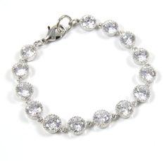 Cadence - Wedding Bride Bridal Sparkling Cubic Zirconia Bracelet, Bridesmaids bracelet, Anniversary