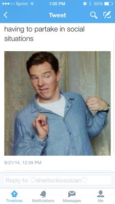 Benedict Cumberbatch - having to partake in social situations rofl Funny Quotes, Funny Memes, Hilarious, Jokes, Meme Meme, Happy Quotes, Ben Barnes, Lee Pace, Orlando Bloom