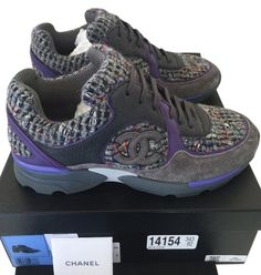 Get the must-have athletic shoes of this season! These Chanel Purple Gray Tweed Suede Sneakers Tennis Trainers 37 Sneakers Size US 7 Regular (M, B) are a top 10 member favorite on Tradesy. Purple Sneakers, Purple Shoes, Purple Suede, Purple Grey, Gray, Chanel Sneakers, Chanel Shoes, Suede Sneakers, Zapatos