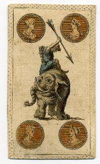 Quattro di denari conelefante Minchiata  fiorentina Etruria, sec. XVIII