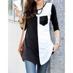 Casual Womens Scoop Neck Color Block 3 4 Sleeve T Shirt Mode Hijab, T Shirts For Women, Clothes For Women, Cheap Clothes, Casual Clothes, Fashion Clothes, Casual T Shirts, Long Shirts, Plus Size Women