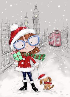 Christmas Scenes, Christmas And New Year, Vintage Christmas, Christmas Holidays, Christmas Art For Kids, Illustration Noel, Christmas Illustration, Illustrations, Mery Crismas