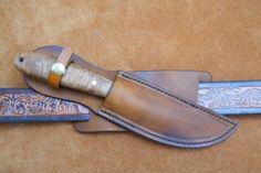 "Custom Leather Knife Sheath 8"" Overall 5"" Fixed Blades - Crossdraw Carry (SHEATH13) - RMB Custom Leather"