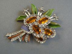 De Rosa Sterling Silver Clip Brooch Floral Bouquet Enameled w Amber Stones   eBay
