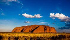 Uluru and golden grasses