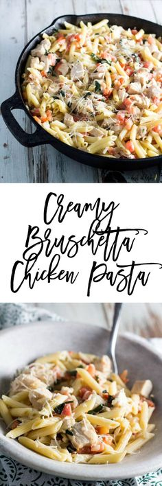 Creamy Bruschetta Chicken Pasta - If you crave a creamy pasta dish, you need to try this delicious creamy Bruschetta chicken pasta recipe. This dish is quick to make and will please your whole family. This recipe is only 5 SmartPoints on Weight Watchers per serving, 1 cup.