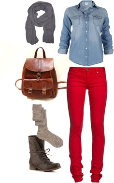 """""""Saturday Around Town"""" by jupedujour on Polyvore    denim shirt, red skinny jeans, gray scarf, leather backpack, wool socks, gray leather lace up combat boots"""