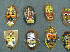 3rd grade paper mache African masks; lesson by art teacher: Susan Joe (These masks were glossed with Mod Podge for shine and durability)