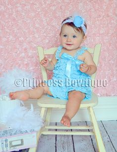 Blue Lace Baby Infant Toddler Romper: Buy Baby Headbands & Hair Bows at Princess Bowtique