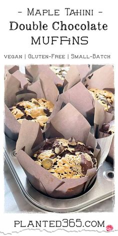 Maple Tahini Double Chocolate Muffins Small Batch V, GF | Planted365 Vegan Brunch Recipes, Gluten Free Recipes For Breakfast, Waffle Recipes, Delicious Vegan Recipes, Baking Recipes, Snack Recipes, Dessert Recipes, Healthy Muffin Recipes, Bread Recipes