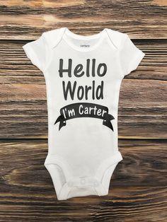 Hello world im name glittered girl newborn shirt baby announcement arrow heart baby name onesie hello world