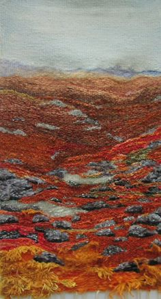 BERNERA MHOR, 24 x 38 inches, Pure wool, mohair, silk noil, mixed fibres and Ousdale scruff. Most hand spun and hand dyed