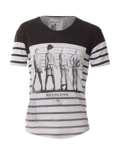Religion Clothing T-Shirt Suspect Short Sleeve Scoop Neck Stripe In Black/Grey - Religion Clothing Cool Tees, Cool T Shirts, Religion Clothing, Colour Block, Classy Women, Men's Style, Spring Outfits, Black And Grey, Hip Hop