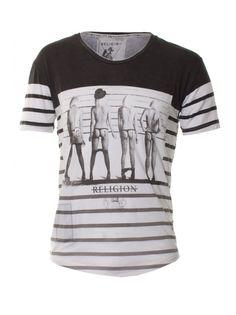 Religion Clothing T-Shirt Suspect Short Sleeve Scoop Neck Stripe In Black/Grey