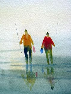 The simplicity of this watercolor is beautiful---time to try this technique for fish, flowers, dogs, cats, etc... Painting the 6-stroke figure - watercolor, tutorial by Michelle Cooper #journal #art #watercolor