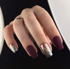 Trendy Manicure Ideas In Fall Nail Colors;Purple Nails; Fall Nai… Trendy Manicure Ideas In Fall Nail Colors;Purple Nails; Burgundy Nails, Purple Nails, Pastel Nails, Matte Maroon Nails, Bling Nails, Oxblood Nails, Nails Turquoise, Plum Nails, Dark Red Nails