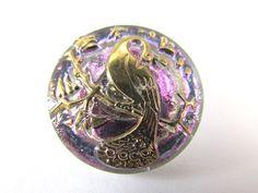 Peacock Lavender abd Gold Czech Glass 22mm Button