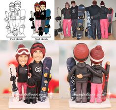 Snowboard Wedding Cake Toppers - starting at $308.00