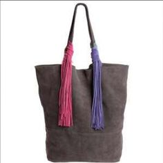 Monserat De Lucca suede Tote grey fringe NWT Grey multi color tassel suede tote Monserat De Lucca Bags Totes
