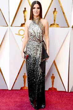 Sandra Bullock in a Louis Vuitton dress at the 2018 Academy Awards | Photo: Getty on   WhoWhatWear.com.au