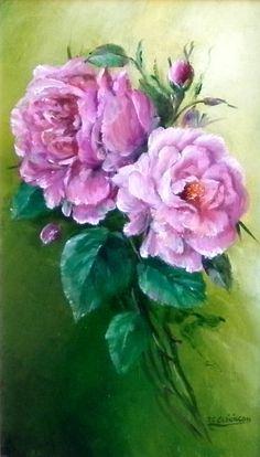 Composition de roses anciennes : Peintures par chrispaint-flowers