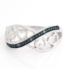 Blue Diamond Sterling Silver 4 Heart infinity Ring Size 10 N166 #AffinityJewelry #4HeartInfinityRing