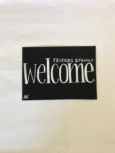 Excited to share this item from my shop: Welcome sign, housewarming gift, Welcome friends and family, Family Painting, Inspirational Wall Art, Welcome, House Warming, Wall Decor, Etsy Shop, Sign, Canvas, Friends