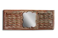 Original Shutter Mirror Frame. Finished in a distressed paint. 2 matching one of a kind pieces available.