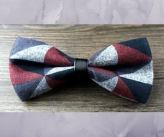 Geometric Bow Tie With Leather Band: Red/Navy/Gray