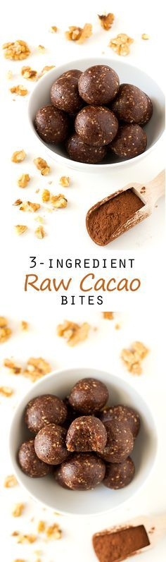 Raw Cacao Bites is part of Cacao recipes - If you need to eat something sweet, you should try these raw cacao bites, they taste so good and you only need 3 ingredients to make them Desserts Crus, Raw Desserts, Dessert Recipes, Drink Recipes, Cacao Recipes, Raw Vegan Recipes, Paleo Vegan, Paleo Diet, Paleo Bars