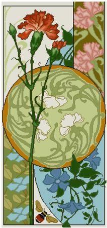 Carnation and Clematis Floral Panel Cross stitch pattern PDF Art Nouveau cross stitch Flowers