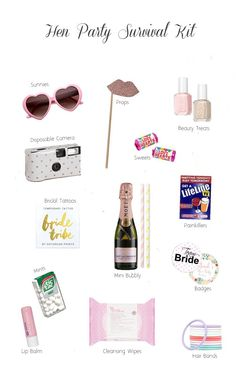 Planning to do hen party survival kits for the girls or bride-to-be? Check out some awesome things you can include! Planning to do hen party survival kits for the girls or bride-to-be? Check out some awesome things you can include! Hen Do Party Bags, Hen Party Favours, Hen Party Gifts, Party Gift Bags, Hen Party Presents, Wedding Favors, Shower Favors, Shower Invitations, Hen Party Food
