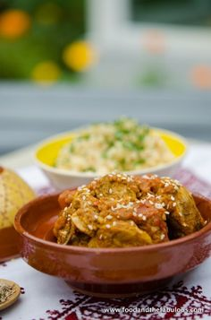 Chicken tagine with tomato jam and sesame seeds