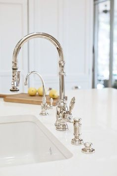 Add matching faucet accessories to your Waterstone traditional PLP Pulldown Faucet. 3 piece includes faucet, soap/lotion dispenser and air switch. Classic White Kitchen, Kitchen Inspirations, Chrome Kitchen, Kitchen Hardware, Kitchen And Bath, Kitchen Faucet, Traditional Kitchen, Faucet, Kitchen Renovation