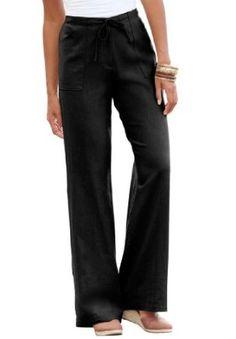 Jessica London Plus Size Petite Pants With Drawstring Waist Black,24 P Jessica London. $22.49