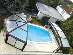Desjoyaux Indoor or Outdoor Swimming Pool as it has a retracting roof. Amazing Swimming Pools, Swimming Pool Lights, Small Swimming Pools, Swimming Pool Designs, Outdoor Swimming Pool, Cool Pools, Awesome Pools, Above Ground Pool Lights, Outside Pool