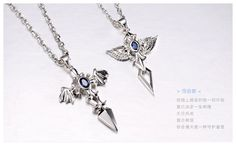 b4a2b02ca2 Sterling Silver His and Hers Matching Angel Wing and Cross Pendants  Necklaces for Couples with Gemstone