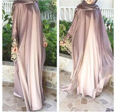 Trends For - Hijab abaye - Photo Design Hijab Gown, Hijab Dress Party, Hijab Outfit, Niqab Fashion, Muslim Fashion, Fashion Dresses, Abaya Designs, Wedding Abaya, Estilo Abaya