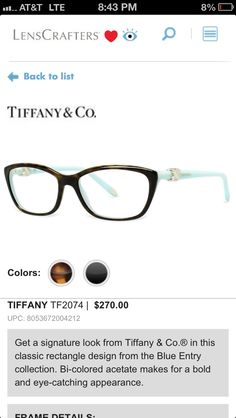 b5579447ddf Tiffany  amp  Co makes eye glasses ! My daughter will go crazy for these