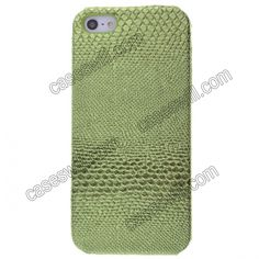 Green Snakeskin Grain Pattern Faux Leather Coated Back Case Cover For iPhone 5 US$3.98