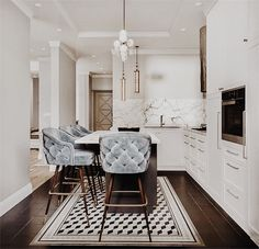 Pinspiration: Add A Touch Of Luxury With Velvet Decor - Apar.- Pinspiration: Add A Touch Of Luxury With Velvet Decor – Apartminty Baby Blue Tufted Kitchen Bar Stools & Stunning White Marble Home Interior Design, Interior Design Kitchen, Apartment Decor, Trending Decor, Home, Decor Interior Design, Velvet Decor, Interior, Bedroom Design