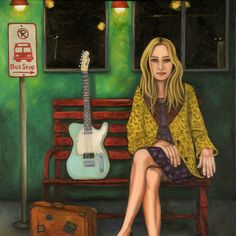 Music Traveler 2 #painting #guitar #travelingmusician #homedecor #newmexico #buyitonetsy #prettywoman