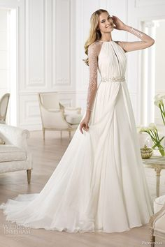 pronovias 2014 atelier bridal collection yajaida long sleeve wedding dress