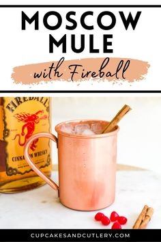 Make a Fireball Mule! This easy recipe uses Fireball Cinnamon Whisky and ginger beer to make a delicious drink that is perfect for winter and beyond. Refreshing Cocktails, Easy Cocktails, Yummy Drinks, Cocktail Recipes, Easy Mixed Drinks, Moscow Mule Recipe, Alcohol Recipes, Ginger Beer, Cutlery
