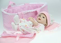 Dolls silicone, mini Soft vinyl with Cradle Daughter Gift 11 Inches (28cm)