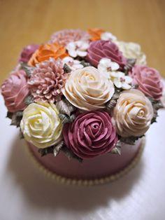 Lovely butter cream flower cake.  Made by Alice.
